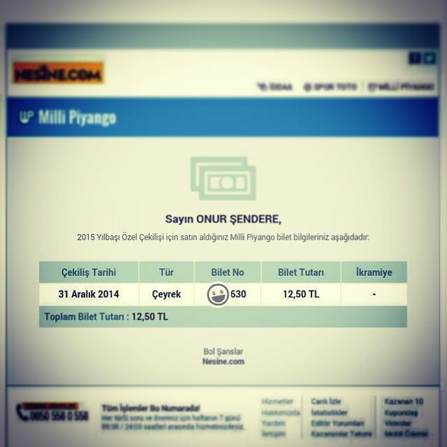 Artık yılbaşı biletini de internetten alıyoruz.  #2015 #yılbaşı #bilet #millipiyango #çeyrek #umut #ikramiye #instamood #instagood