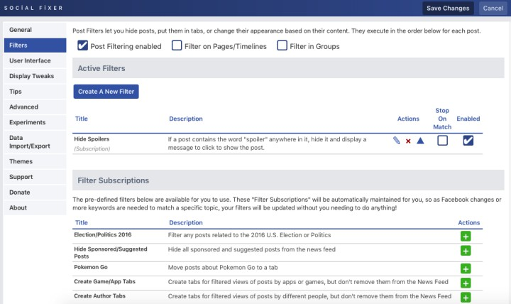social fixer facebook options